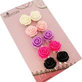 Princess-J Big Size 19mm Color Rose Flower Design Fashion Clip-on Earrings, Pack of 5 Pairs
