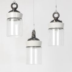 Cookie Jar lights, glass and porcelain pendant lights with cast-iron caps.