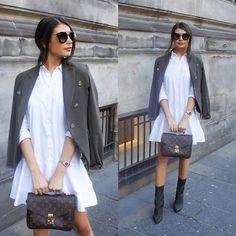 Get this look: http://lb.nu/look/8178389 More looks by FASHIONBYMNP .: http://lb.nu/fashionbymnp Items in this look: Mango Khaki Blazer, Zara White Shirt Dress, Public Desire Khaki Boots, Louis Vuitton Pochette Metis