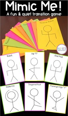 Transition Game - Brain Break - Mimic Me is a FUN and QUIET way to get students moving for a break! Use as a transition activity, as a class reward game, or leave it for a sub.
