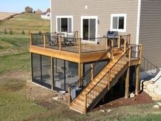 Shed DIY - If the house has a raised deck like this, a screened porch is an excellent idea. Or could otherwise work as a craft shed or regular shed. Now You Can Build ANY Shed In A Weekend Even If You've Zero Woodworking Experience! Raised Deck, Casas Containers, House Design Photos, Diy Deck, Deck Plans, Boat Plans, Decks And Porches, Screened Porches, Building A Deck