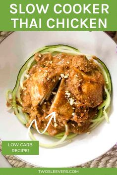 Looking for a great Thai Chicken recipe without all the work? Try out my Slow Cooker Thai Chicken, made easily in your crockpot! Slow Cooker Thai Chicken | Crockpot Thai Chicken | Crock Pot Thai Chicken | Thai Chicken Recipes | Thai Food | Thai Recipes | Low Carb Recipes | Gluten Free Recipes | High Protein Recipes | Chicken Recipes | Two Sleevers | #twosleevers #slowcooker #crockpot #thai #chicken #lowcarb Gluten Free Recipes High Protein, Low Carb Chicken Recipes, Low Carb Recipes, Crockpot Recipes, Vegetarian Recipes, Thai Recipes, Slow Cooker Thai Chicken, Stove Top Recipes, Bariatric Recipes