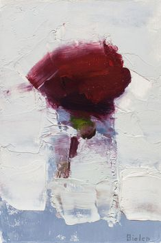 Stanley Bielen, Rose/Carmine - The Munson Gallery - this looks abstract but is actually a rose in a vase