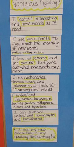Expanding Vocabulary: Vocabulary goals when reading anchor chart. This site also has others related to fluency, comprehension, etc.
