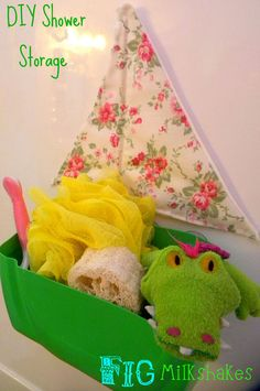 DIY Shower Storage made from an old laundry soap container.  Great idea for a recyclable project!
