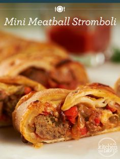 Another Tasty Twofer! Mini Meatball Stromboli & Cheesy Chicken Roll-Ups! Pizza Recipes, Beef Recipes, Cooking Recipes, Turkey Recipes, Cooking Ideas, Meatball Stromboli Recipe, Pizza Calzones, Great Recipes, Favorite Recipes