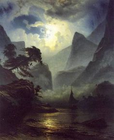 "suonko: ""A Norwegian Fjord by Moonlight by Knud Andreassen Baade """