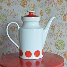cafetière pois rouge vintage - deco-graphic.com