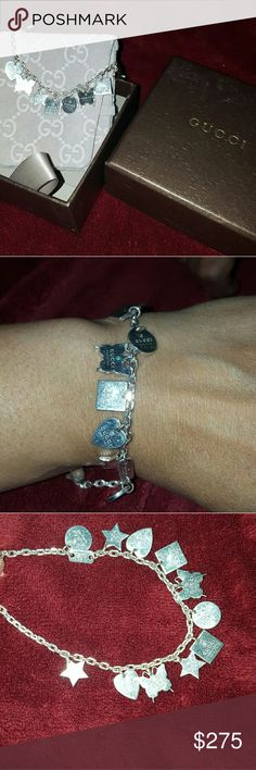 Gucci charm bracelet sterling silver used Gucci charm bracelet sterling silver used charms are attached and don't come off. Sorry the price is firm it's real and rare the other bracelets only have 2 charms Gucci Jewelry Bracelets