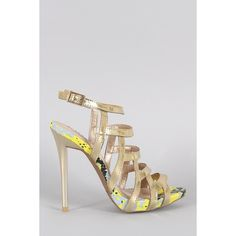Qupid Metallic Strappy Snake Open Toe Stiletto Heel ($42) ❤ liked on Polyvore featuring shoes, pumps, ankle strap shoes, strappy platform pumps, platform shoes, qupid pumps and strappy pumps