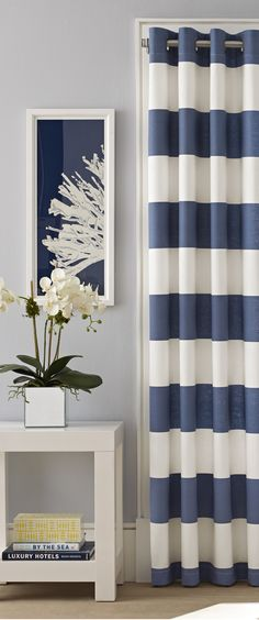 Buy Teal Printed Broken Stripe Eyelet Curtains From The