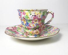 Vintage English Chintz Teacup & Saucer James Kent Ltd