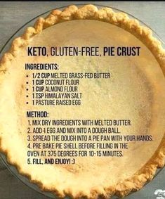 Keto Gluten Free Pie Crust Almond and Coconut Flour Gluten Free Pie Crust, Gluten Free Baking, Paleo Pie Crust, Almond Flour Pie Crust, Low Carb Pie Crust, Pie Crusts, Grain Free Pie Crust Recipe, Gluten Free Pecan Pie, Almond Flour Cakes