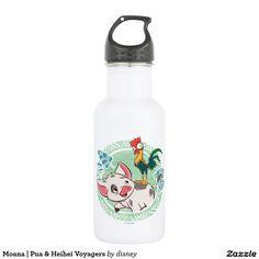 Moana   Pua & Heihei Voyagers. Regalos, Gifts. Producto disponible en tienda Zazzle. Product available in Zazzle store. Link to product: http://www.zazzle.com/moana_pua_heihei_voyagers_stainless_steel_water_bottle-256269685087308408?CMPN=shareicon&lang=en&social=true&rf=238167879144476949 #bottle #botella #moana