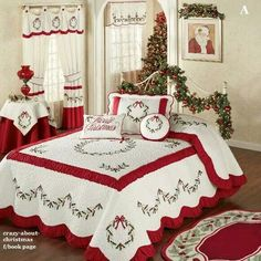 Holly Wreath Quilted Oversized Holiday Bedspread ZThe Holly Wreath Holiday Bedding will make any bedroom look fabulously festive. The cotton/polyester Grande Oversized Bedspread features embroidered holly wreaths and garlands in red and green on a ve Cozy Christmas, Country Christmas, All Things Christmas, Christmas Holidays, Christmas Crafts, Christmas Bedding, Christmas Interiors, Holiday Wreaths, Holiday Decor