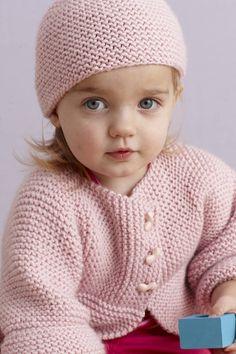 Cardigan knitting PATTERN, Baby girl pink cardigan and hat knitting pattern,  PDF knitting pattern, size 6, 12, 18, 24 months