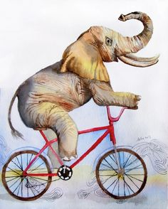 OOAK Elephant Bicycle 8x10 Original Watercolor Nursery by asho, $20.00
