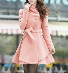 Sophisticated Turn-Down Collar Belt Embellished Pelpum Top Long Sleeves Slimming Overcoat For Women, PINK, My dream dress ;)