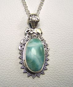 Larimar Sterling Silver necklace pendant with by CoyoteRainbow, $40.00