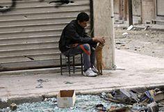 Un membre de l'Armée syrienne libre caresse un chat dans une rue d'Alep (Syrie), le 22 octobre 2012.