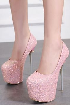 b87e4e94e8f0 Pink Glitter Platform Stiletto High Heel Party Pumps. Platform Stilettos ...