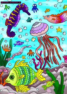 OPTIMIMMI | A filled-up coloring page of the sea / Väritetty värityskuva merestä