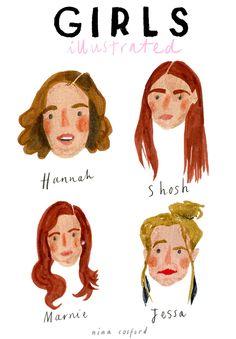 ilustrações da sérir Girls(HBO) por nina cosford