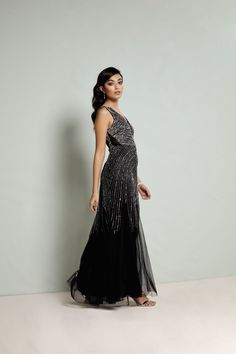 Black and silver prom dress