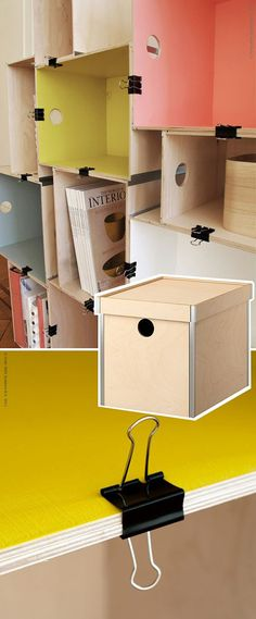 Use large clips to hold cardboard boxes or containers together for storage shelves! (ORIGINAL: Estante de caixote Inspiração Do Dia | - Página 14)