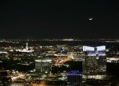 Crescent moon over downtown Fort Worth on a chilly January 2015 night