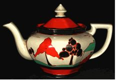 RED TREES & HOUSE Teapot by Clarice Cliff in the  Athens shape and Red Trees & House pattern. Size 9 inches from handle to spout and 5.25 inches high. Excellent condition. Nicely painted. Signed Fantasque by Clarice Cliff.