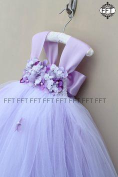 Lavender Flower Girl Dress, Light Purple Tutu Dress With Cap Sleeves