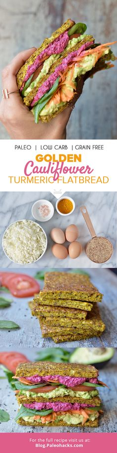 This low-carb, veggie-packed Cauliflower Turmeric Flatbread is the perfect canvas for a healthy sandwich to grab and go. You can pack it with your favorite fillings and add it to your Paleo lunchbox! Recipe and images by http://www.wildblend.co/  For the full recipe, visit us here: http://paleo.co/flatbreadrcp
