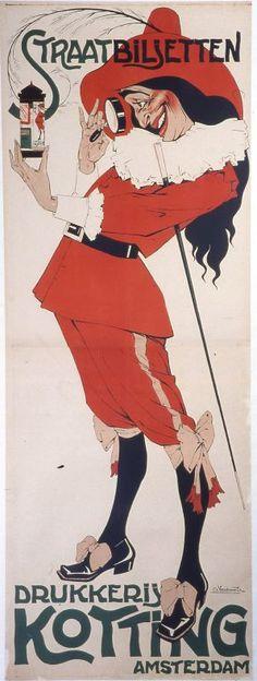 By Charles Verschuuren, circa 1917-22, Streetbiljetten Drukkreij (AD).