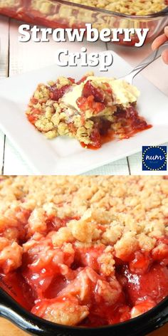 Homemade Strawberry Crisp is a fresh, easy and fantastic dessert! Use fresh or frozen strawberries to create this simple strawberry crisp. Perfect for a beginner baker or an expert. Family friendly and kid approved! Frozen Strawberry Recipes, Easy Strawberry Desserts, Strawberry Oatmeal, Recipe For Frozen Strawberries, Strawberry Cobbler, Fudge Recipes, Fruit Recipes, Cooking Recipes, Easy Cooking