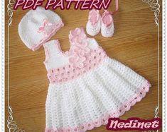 Patrón de vestido de bebé del ganchillo por NedinetPattern en Etsy