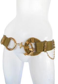 Olive green nylon belt with rope and chain detail, and gold tone anchor hook closure Moschino, Fashion Accessories, Hair Accessories, Change Purse, International Fashion, Belt Buckles, Metal, Chain, Anchors