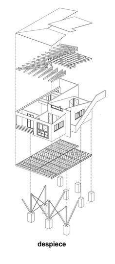 Casa Suarez,Axonométrica Explodida