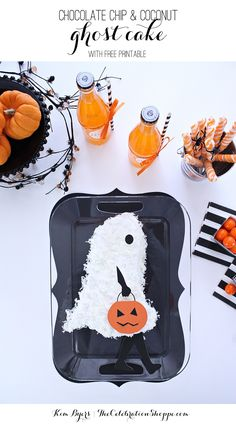 Easy Halloween Ghost Cake with Chocolate Chip, Marshmallow Crème and Coconut + Free Printable Cake Decorations   @kimbyers  #sweetentheseason #ad