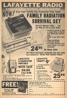 STRANGE OLDE PRODUCTS - FAMILY RADIATION SURVIVAL KIT $24.95! TELLS YOU WHEN IT IS SAFE TO LEAVE THE BOMB SHELTER!
