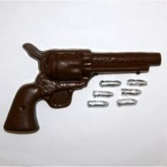 This chocolate Peacemaker comes complete with silver bullets to delight any gun enthusiast, or die hard cowboy.