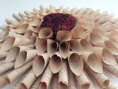 Aged Book Page Dahlia with dried rose center by OnceUponATimeless wall decor wall art book art