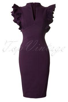 Hybrid - Fiona Frill Pencil dress in Grape