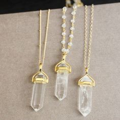 Long Crystal Necklace Crystal Point Necklace by TheSilverWren