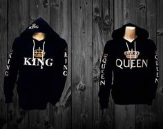 King Queen Hoodies For Couples Cool Sweatshirt by CreateNYCapparel