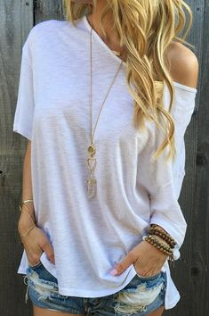 Casual 1/2 Sleeve Loose-Fitting Solid Color Women's T-Shirt