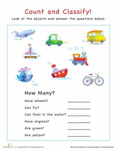 Worksheets: Count and Classify: Vehicles
