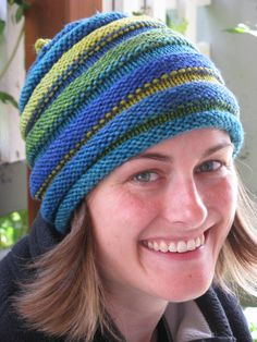 Free Knitting Pattern for Hive Hat - This easy hat is a super stretchy twist on stripes. Designed by Tanya Patterson