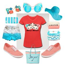 """Hey Hey Kitty Hits The Beach!"" by winkinbitsy ❤ liked on Polyvore featuring Vans, Accessorize, Linda Farrow, MICHAEL Michael Kors, Betmar, Kate Spade, Forever 21 and Domo Beads"