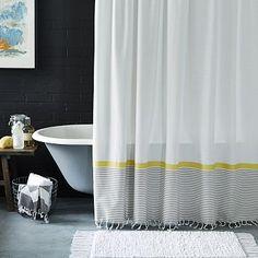 Stripe Border Shower Curtain – Stone White/Citron #westelm